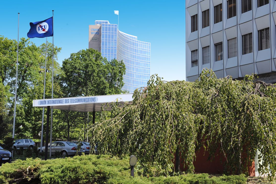 Entrance headquarters of the ITU in Geneva.